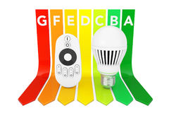 LED Bulb with Remote Controller over Energy Efficiency Rating Ch Stock Photography