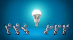 LED bulb. Row with light bulbs and LED bulb Royalty Free Stock Photography