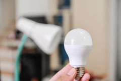 LED bulb - Selected the bulb to use with electric lamp Royalty Free Stock Photo