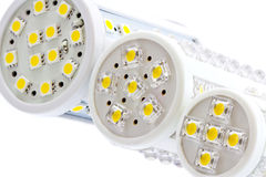 LED bulbs with 1 and 3-chip SMD LEDs. Various sizes of LED bulbs with 1-chip and 3-chip SMD LEDs on a white background Stock Photography