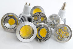 LED bulbs with different beam guidelines Stock Image