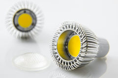 Led bulbs GU10 with cooling but without optical slides Stock Photo
