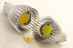 LED bulbs GU10 with large chips. Two LED bulbs GU10 with large flat chips and not assigned SMD chip Stock Photo