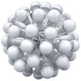 LED bulbs in knotted cable Stock Photos