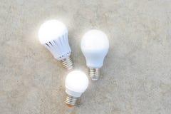 LED Bulbs with lighting Stock Photos