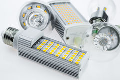 LED bulbs nonstandard and classic tungsten bulb shapes Stock Photos