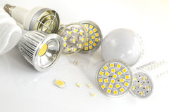 LED bulbs with various large chips. LED bulbs with GU10, E14 and E27 bases and various large chips Royalty Free Stock Image