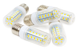 LED bulbs on a white background Stock Photo