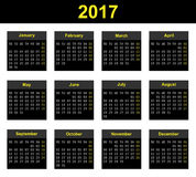 2017 LED Calendar. Full year wall planner for 2017 in airport LED display board style Stock Images