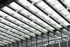 Led canopy above the entrance of modern building. At night royalty free stock photos