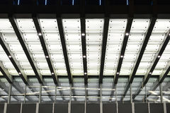 Led canopy above the entrance of modern building. At night royalty free stock photo