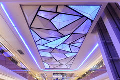 Led ceiling of commercial building. Hall ceiling of modern commercial building lit by led light Royalty Free Stock Images