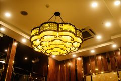 Led ceiling lighting Oriental style stock images