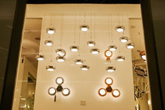 Led home ceiling lighting shop window Stock Image