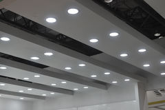 Led ceiling lights. Modern led ceiling lamps in a commercial plaza Royalty Free Stock Photo