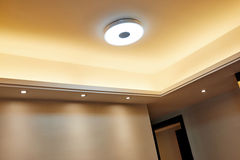Led ceiling. Of modern house Stock Photos