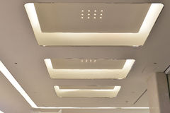 Led ceiling of Modern  plaza hall ,modern office building ,modern business building hall,inside commercial building. Lighting plaza hall , inside commercial Stock Images
