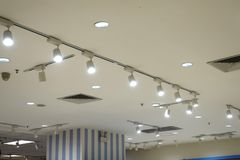 Led ceiling spot lighting in modern building Modern architecture roof royalty free stock images