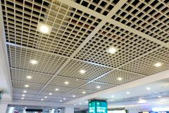 Led ceiling spot lighting in modern building Modern architecture roof royalty free stock photography