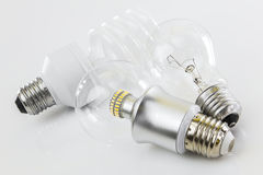 LED, CFL and classic tungsten Stock Photography