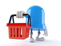 LED character holding shopping basket. Isolated on white background. 3d illustration Royalty Free Stock Photography