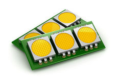 LED chip panels over white Stock Images