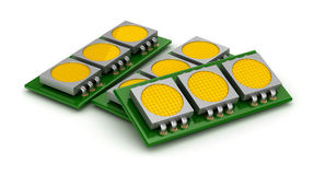 LED chip panels over white Stock Image
