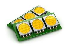 LED-Chipplatten über Weiß Stockbilder