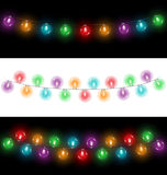 Led Christmas lights on black and white backgrounds. Variations of multicolored glassy led Christmas lights garlands on black and white backgrounds Stock Images