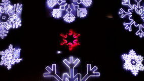 Led Christmas Snowflakes Decorations Detail stock video