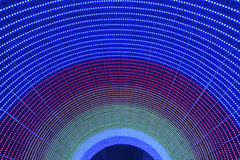 LED. Color LED lighting in tunnel Royalty Free Stock Photo