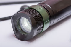 LED cree flashlight torch green button Royalty Free Stock Photos