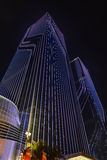 Led curtain wall�night lighting of commercial building Stock Photography