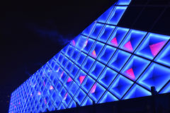 Led curtain wall,night lighting of modern commercial building. Led lights used on the external glass walls of Modern commercial building at night,Built - in Royalty Free Stock Image