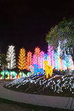LED decorated garden. Concept of energy saving, cool lighting and decoration stock photography