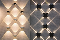 LED decoration lights. Idea on wall create shape with light and shadow Stock Photography
