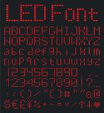 Digital alphabet and numbers set, red led font. LED digital alphabet and numbers set, led font Stock Photography