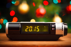 Led display of alarm clock with 2015 Royalty Free Stock Photography