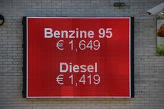 Led display board with the petrol prices in the Netherlands per liter (0,26 Gallon). Led display board with the petrol prices in the Netherlands per liter (0,26 stock photos