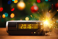 Led display of digital clock with 2016 new year Stock Photos