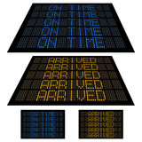 LED display - Set 2 - On Time and Arrived. LED boards, similar to airport flight information boards, showing On Time and Arrived information Royalty Free Stock Image