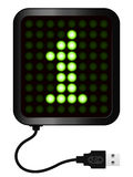 LED Display shows cipher 1 - USB cable. Green LED Display shows cipher 1 - USB cable stock illustration