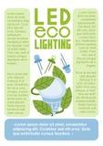 LED-eco, das flache Vektor infographics Schablonenseite beleuchtet Lizenzfreies Stockbild