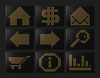 Led effect icons formed by balls. With light 3d rendered set 1 Royalty Free Stock Photos