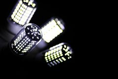LED elements in the lamp. Lamps with diodes. Many bright lights. From the diode lamp.r royalty free stock images
