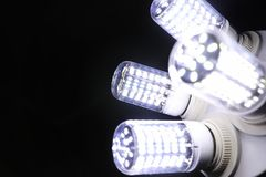 LED elements in the lamp. Lamps with diodes. Many bright lights. From the diode lamp.r stock photo