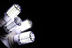 LED elements in the lamp. Lamps with diodes. Many bright lights Royalty Free Stock Image