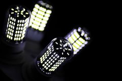 LED elements in the lamp. Lamps with diodes. Many bright lights Stock Images
