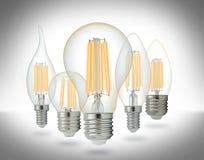 LED filament light bulbs set. Stock Images