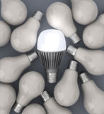 LED and filaments light bulbs Royalty Free Stock Images